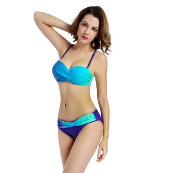 2018 Bikini push up Padded swimwear women bandeau bikini set gradient color swimsuit halter biquini sexy bathing suit Beachwear