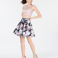 My Michelle Juniors' 2-Pc. Lace & Floral Dress, Created for Macy's Juniors - Dresses - Macy's