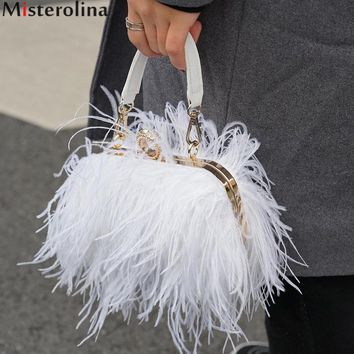 Misterolina Luxury Handbags Women Bags Designer Evening Party Clutch Bag Women Bags Chains Designer Ostrich Feather H00378