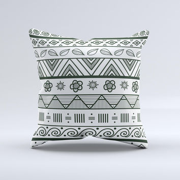 Black White Floral Aztec Pattern ink-Fuzed Decorative Throw Pillow