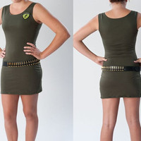 Sexy Zombie Hunter Costume Dress Ammo Belt  Army Green Wiggle Dress Pin Up Halloween Costume Womens Small Medium or Large