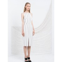 KEEPSAKE Same Love Dress BLACK VERTICAL STRIPE