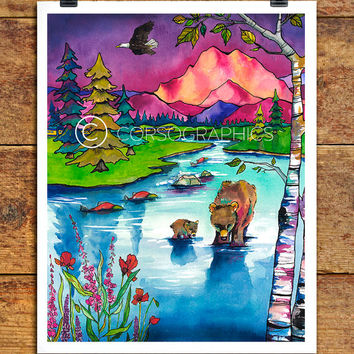 Watercolor artwork of nature _ bears in river _ alaska painting  Mount McKinley nature watercolor  watercolor landscape watercolor painting