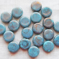 Lot of 25 8mm Czech glass flat round beads, opaque Turquoise with a picasso finish coin or disc beads 76101