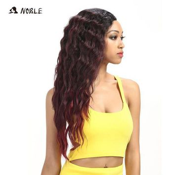 LMFG8W Noble Hair Products U Part Lace Front Wig 28 Inch Long Deep Wave Dark Root Synthetic Wigs For Black Women Free Shipping