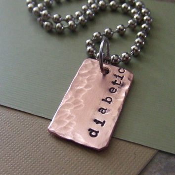 Medical Alert Jewelry - Handstamped Copper Necklace - Diabetic Allergies Pacemaker Alzheimers Autism Peanut Allergiy Coumadin
