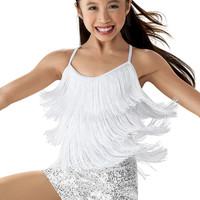 Weissman | Fringed Top with Attached Sequin Shorts