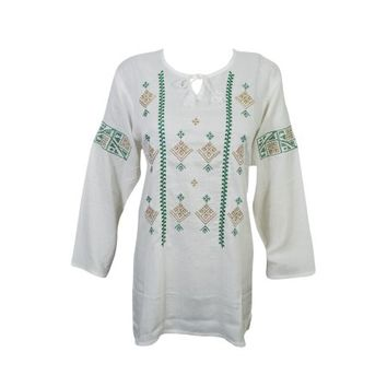 Mogul Womens Peasant Tunic Top White Ethnic Embroidered Bohemian Fashion Boho Chic Blouse Shirt Cover Up - Walmart.com