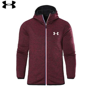 Under Armour Men Popular Loose Print Hoodie Zipper Cardigan Jacket Coat Windbreaker Wine Red