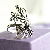 Flower Perforated Silver Ring Sterling Ring .925 Silver Ring Personalized Ring