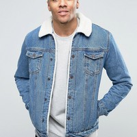 Pull&Bear Denim Jacket With Borg Lining And Collar In Light Wash at asos.com