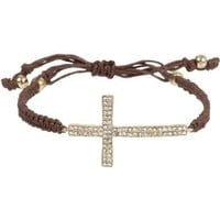 Dazzling Crystal Sideways Cross and Brown Macrame Adjustable Zen Bracelet