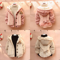 Baby Toddler Girls Soft Plush Cardigan Jacket Coat Knit Sweater Outwear Clothes