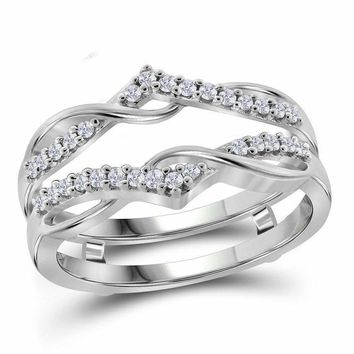 10kt White Gold Women's Round Diamond Wrap Ring Guard Enhancer Wedding Band 1-4 Cttw - FREE Shipping (US/CAN)