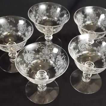 Heisey Glass Champagne Stems, Set of 5, Vintage Etched Orchid Low Sherbets, Wine Goblets, Elegant Dining Tableware