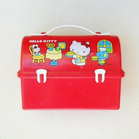 Vintage Hello Kitty Lunch Box 1976 1983 Red Dome Sanrio Kawaii Graphics Lunchbox