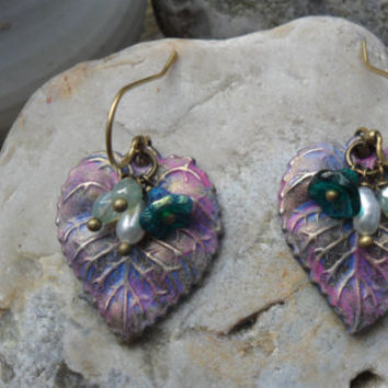 Purple leaf earrings, purple patina earrings with golden accent, green lustre beads, teal floral beads, freshwater pearls, OOAK; UK seller