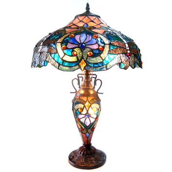 "LYDIATiffany-style 3 Light Victorian Double Lit Table Lamp 17"" Shade"