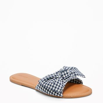 Printed Bow-Tie Slide Sandals for Women | Old Navy