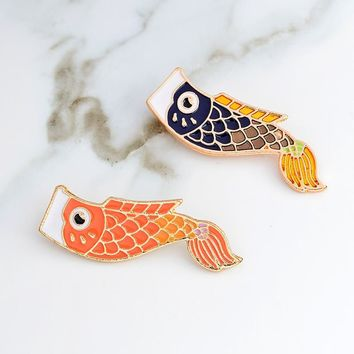 Trendy Nishikigoi pin Koi pin Japanese fish pins Badges Brooch Hard enamel badge Japanese jewelry Denim jackets Backpack Accessories AT_94_13