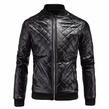 2017 New Winter Men's Black Motorcycle PU Leather Jackets Men Fashion Knitted Long Sleeve Coat Jacket Casual Male Brand Clothing