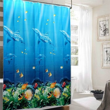 180x180cm Dolphin Sea Fish Shower Curtain with 12 Hooks - B