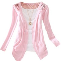 Zeagoo Women's Floral Hollow Thin Knit Cardigan Sweater Pink