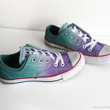Violet and green ombre dip dye Converse, upcycled preloved sneakers, vintage All Stars, low tops, eu 37.5 (UK 5, US wmns 7, US mens 5)
