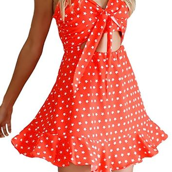 Star-Crossed Lovers Red White Star Print Sleeveless Spaghetti Strap V Neck Cut Out Ruffle Mini Dress