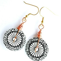 Button Burst:  Big button earrings, black & white, copper wire