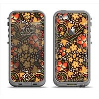 The Colorful Floral Pattern with Strawberries Apple iPhone 5c LifeProof Fre Case Skin Set