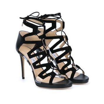 JIMMY CHOO | Dani 100 Suede and Perspex Heeled Sandals | Womenswear | Browns Fashion