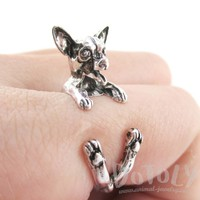 Chihuahua Dog Shaped Animal Wrap Around Ring in Silver | Sizes 5 to 8