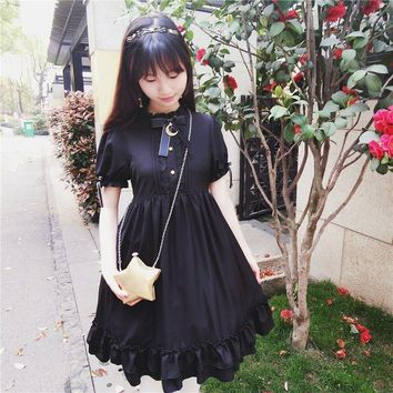 Long Sleeve and Short Sleeve Women Dress A-line Lolita Gothic Retro Dress Laces Bow Tie Black