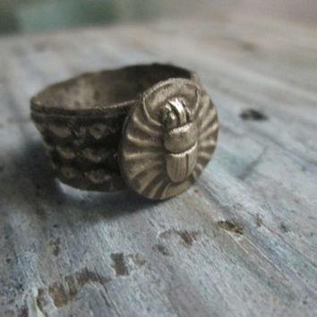 Scarab Ring, Antiqued Bronze, Size 9, Studded Band, Eco-Friendly, Reclaimed Metal, Metal Clay Ring, Egyptian, Unisex, For Men