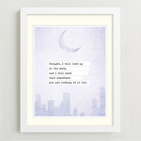 Poetry Art Print - Nicholas Sparks Quote - Moon Quote Print - Wall Decor