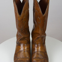 Vintage J. Chisholm Brown Cowboy Boots With Wooden Heel, Side Decorative Straps And Stitched Accents, Men Size 10D