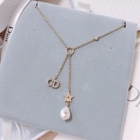 """Dior"" Temperament Fashion Diamond Letter Pearl Tassel Necklace Women Jewelry"