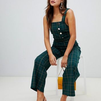 Miss Selfridge jumpsuit with button detail in green check at asos.com