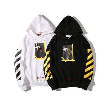 Fashion Trends Off White Sweatshirts Men Women 1:1 Cotton Hip Hop Loose Religions Fleece Pullover Kanye West Off White Hoodies