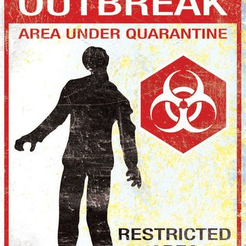 Metal Sign Zombie Outbreak for Halloween