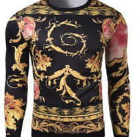 Black Abstract Totem Print Long Sleeves Sweatshirt
