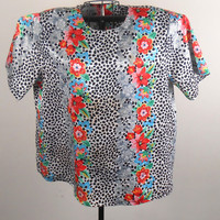 Womens Blouse   Jeri Margue Floral And Animal Print  Size 12 1980s