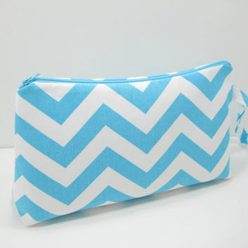 Large Chevron Pouch, Aqua Chevron Accessory Pouch, Travel Pouch, Diaper Pouch, Wristlet Pouch, Ready to Ship