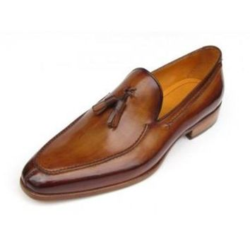 ac NOVQ2A Paul Parkman Men's Tassel Loafer Camel & Brown Hand-Painted
