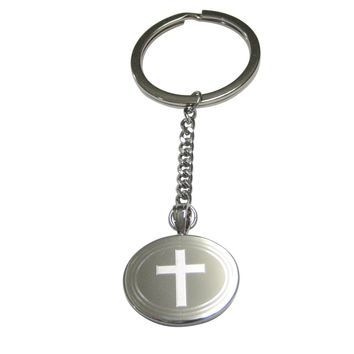 Silver Toned Etched Oval Thick Religious Cross Pendant Keychain