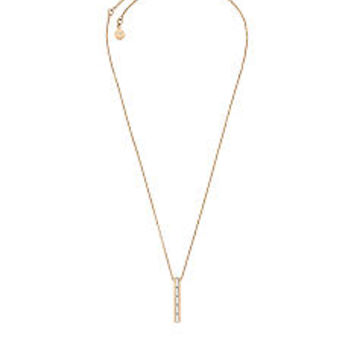 Gold-Tone and Crystal Barrel Pendant Necklace