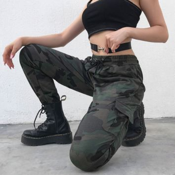 Fashion Personality Camouflage Print Slim High waist Workwear Casual pants Hip hop pants [1416805974052]