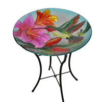 Peaktop - Outdoor Hand Painted Hummingbird Glass Bird bath