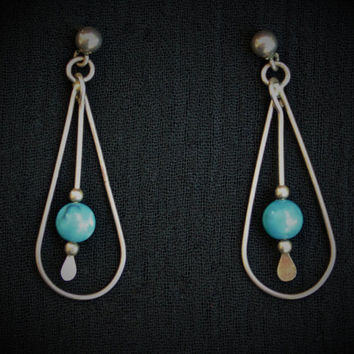 Vintage Dangle Earrings With Turquoise Bead In Silver Tone
